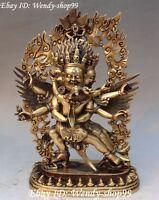 "12"" Tibet Bronze 3 Heads 6 Arms Mahakala Wrathful Deity Yab-Yum Buddha Statue"