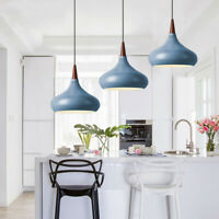 Wood Pendant Light Blue Pendant Lighting Kitchen Modern Ceiling Lights Bar Lamp