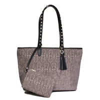 Raviani Gray Geometric Pattern Tapestry W/Leather Trim & Crystals & Cosmetic Bag
