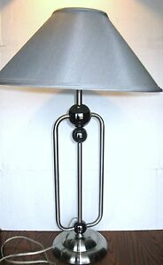 NOVA ATLAS Brushed Nickel Tall Table Lamp with Black Nickel Orbs and Gray Shade