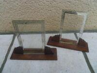 2 anciens cadre photo en bois et verre art deco