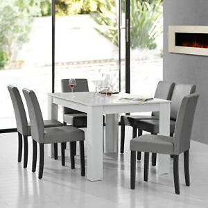 [en.casa]® Esstisch weiß mit 6 Stühlen hellgrau [140x90] Tisch Stühle Essgruppe