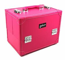 Professional Vanity Cosmetic Case Makeup Beauty Storage Box Pink Faux Leather