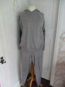 Studio Grey Faux Pearl Detail Knit Co-ord Tracksuit Set Hoodie Size 20/22