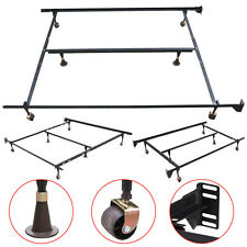 Adjustable Queen Full Twin Heavy Duty Metal Sleeping Bed Frame Platform W/Roller