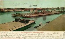 Postcard Barges on Waterfront, Sacramento, California - used in 1907