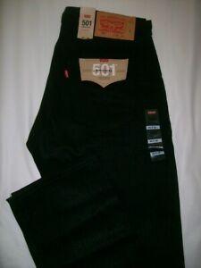 Levis 501 Original Button Fly 36x36 Mens Jeans Sz 36 x 36 Black NWT Straight