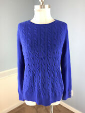 Talbots L Royal Blue cable knit sweater  Wool Blend Excellent
