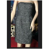 Express Design Studio Dress $88 Black White Wool W/ Pockets Strapless Size 2