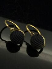 ANTIQUE VICTORIAN EARRINGS SMALL FRENCH DORMEUSE CARVED WHITBY JET GOLD 9CT 375