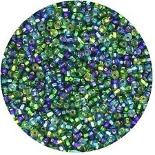 Czech Glass Seed Beads Size 11/0 Blue Green Silver Lined  Mix
