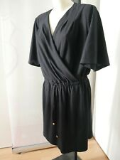 BY JULIE robe noire cache coeur taille S 34/36 tissu gauffré manches courtes