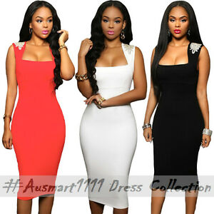 Sexy Square Neck Jewel Shoulder Slim Midi Office Formal Evening Party Club Dress