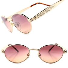 True Vintage Classic Old Fashioned Indie Mens Womens Gold Round Oval Sunglasses