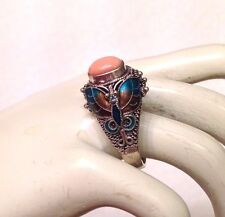 Vintage Chinese Export Angel Skin Coral Sterling Silver Enameled Butterfly Ring