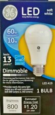 New GE LED Soft White 60w LED A19 67511 800 Lumens Dimmable Light Bulb