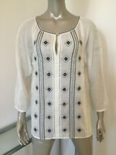 NWT TORY BURCH BOHO CHIC LUCILLE TOP TUNIC WHITE BLUE INDIAN BEADS $350 SIZE 10