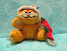 "1981 Dakin Garfield - Santa Xmas Hat - Soft Plush Window Sucker Suction Toy 6.5"""