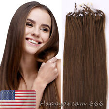 Micro Loop Ring Beads Tipped Remy Human Hair Extensions Medium Brown 22Inch 50gr