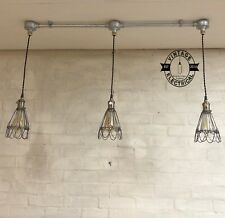 HEMSBY 3 X RAW STEEL INDUSTRIAL CAGE HANGING CEILING TABLE LIGHT FITTING VINTAGE