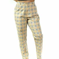 Burberry Golf Plaid Pants Size 8 Nova Check Casual Trousers Cotton Tapered