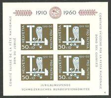 SWITZERLAND 1960 BIRDS OWLS PRO PATRIA M/SHEET MNH