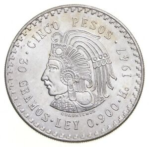 MEXICO 1947 5 PESOS SOLID SILVER COIN AZTEC CHIEFTAIN LOW MINTAGE UNC *438