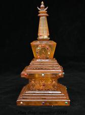 """9 """"Tibet Buddhismus Tempel Kristall Hand geschnitzte Buddha Stupa Pagode Tower"""