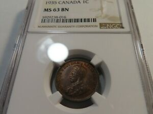 M59 Canada 1935 Small Cent NGC MS-63 Brown