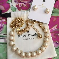 Kate Spade Gold Plated Squared Away Faux Pearl Necklace & Earrings Goldfill  SET