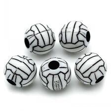 10 Perle noir 12mm acrilique Ballon de volley-ball, bijoux, Attache tetine...