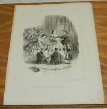 c1880 Antique Print/TALKING DOLLS TELL GIRL'S STORY/THE GIRLS SERVED US