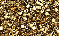 100 MIYUKI CUBE BEADS OPAQUE METALLIC DARK GOLD 4MM