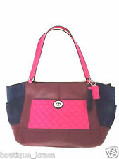 $398 NWT Coach F24693 Color block Quilted Leather Carrie Tote Authentic