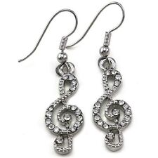 Treble Clef Music Note Dangle Earrings Clear Crystal Stone Children Kids Jewelry