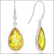 Sterling Silver Pear Drop Dangle Earrings CZ Citrine Yellow #53135