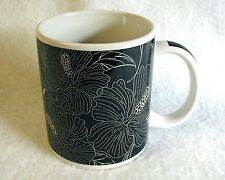 Coffee Mug BLACK TROPICAL HIBISCUS Hawaiian Floral ABC STORES Excellent