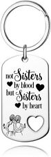 Best Friend Keychain, BFF Keychain ,Not Sisters by Blood But Sisters by Heart