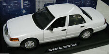 Motormax 1/18 Slicktop White Ford Crown Vic Police Car Great For Customs! 73527
