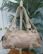 Guia's made in Italy metallic taupe  leather shoulderbag with gold tone accents