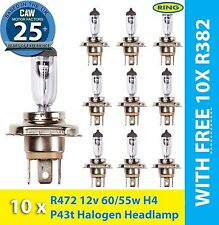 472 H4 3 Pin Headlight Bulb Trade Pack of 10 with 10x FREE R382 Bulbs | RING