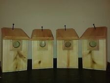 4 CEDAR Bluebird Bird Houses Easy to Open and Clean