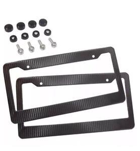 2 x JDM Black Carbon Fiber Look License Plate Frame Cover Front & Rear US Size
