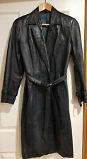 Vintage Ladies Dark Blue Leather Trench Coat By Unknown Manufacturer