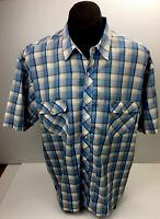 Now Men's Western Pearl Snap Blue/Tan/Grey/Yellow Short Sleeve Shirt Sz XL