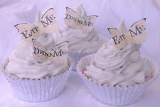 Eat Me Drink Me Alice Wonderland Cupcake Queen Mad Hat Tea 30pc Edible Butterfly