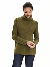 Banana Republic Women's Todd & Duncan Cashmere Turtleneck Sweater, Olive SIZE S