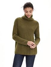 Banana Republic Women's Todd & Duncan Cashmere Turtleneck Sweater, Olive SIZE M