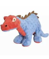 GoDog Spike Plated Dinosaur with Chew Guard  Blue & Red Plush Dog Toy NWT