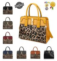 New Women's Elegant Leopard Print Half Patent Hand Bag With Front Chain Detail